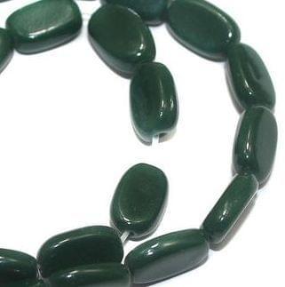 5 Strings of Jaipuri Flat Oval Beads Dark Green 10X6mm