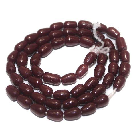 5 Strings of Jaipuri Drop Beads Red 6x4mm
