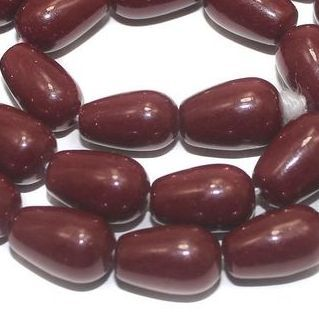 Jaipuri Beads Dark Red Drop 5 Strings 13x8mm