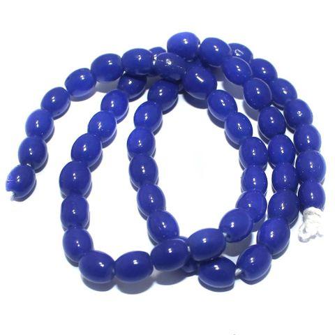 Jaipuri Beads Blue Oval 5 Strings 8x6mm