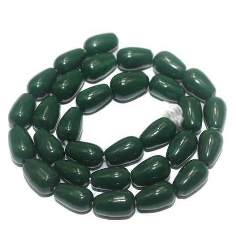 5 Strings of Jaipuri Drop Beads Green 13x8mm