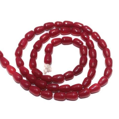 5 Strings of Jaipuri Drop Beads Pink 6x4mm