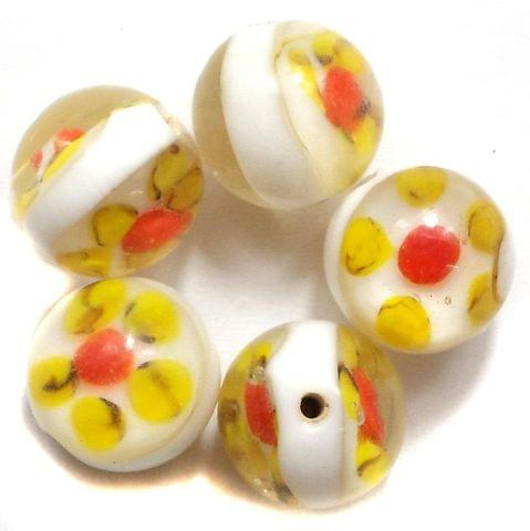 15 Fancy Round Beads Inside Yellow 14mm