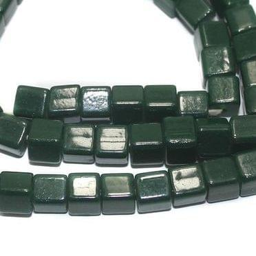 5 Strings of Jaipuri Cube Beads Dark Green 6mm
