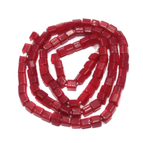 Jaipuri Beads Red Cube 5 Strings 4mm