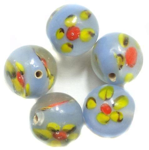 10 Fancy Beads Round Inside Light Blue 14mm