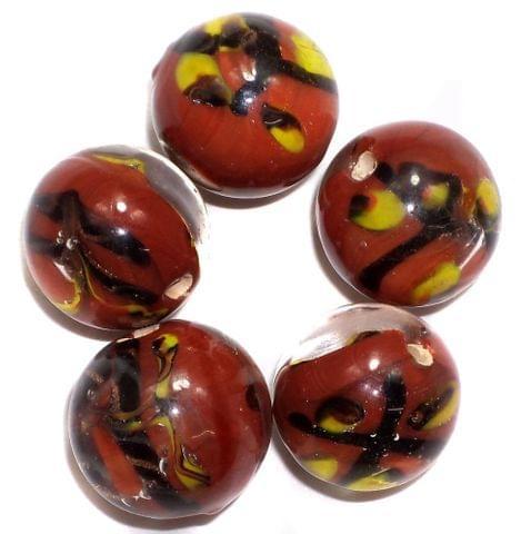 19 Fancy Beads Round Inside Dark Red 14mm