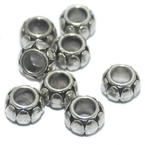 50 Pcs German Silver Tyre Beads 9x6mm