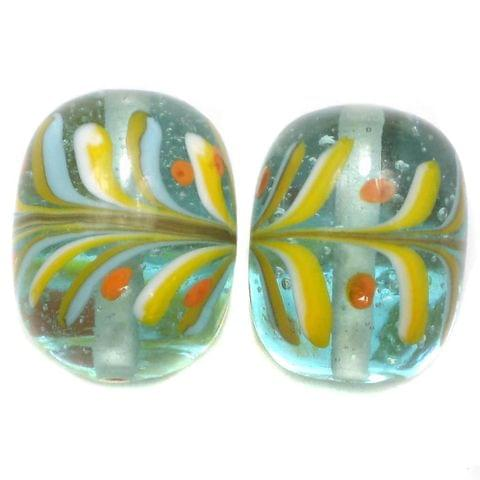 2 Fancy Round Beads Light Turquoise 24x20mm