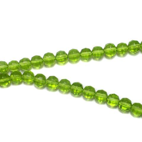 5 Strings Football Glass Round Beads Peridot 8mm