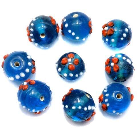 5 Glass Round Beads Blue 12mm