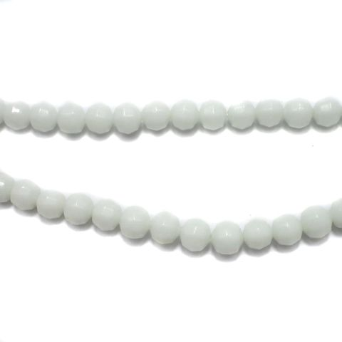 5 Strings Football Glass Round Beads White 8mm