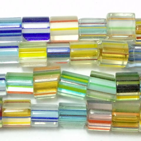 40+ Glass Cane Beads Assorted 7-10mm