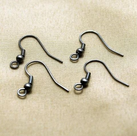 100 Nickel Ear Wire Black 20x7mm