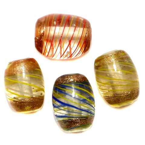 15+ Golden Swirl Glass Oval Beads Assorted 18-22mm