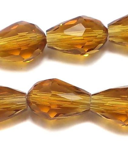 60 Faceted Crystal Drop Beads Topaz 12x8 mm