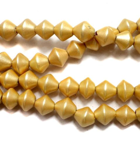 5 Strings Disco RONDELLE Beads Golden 8 mm