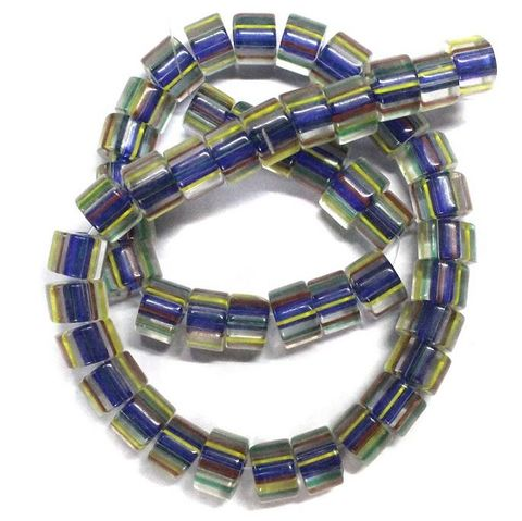 50+ Glass Cane Beads Tyre Assorted 10x7mm
