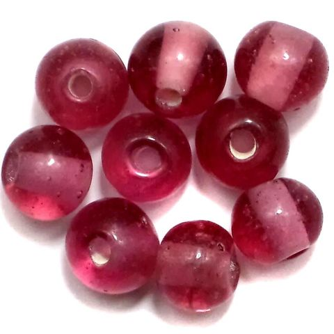 100+ Glass Round Beads Pink 8mm