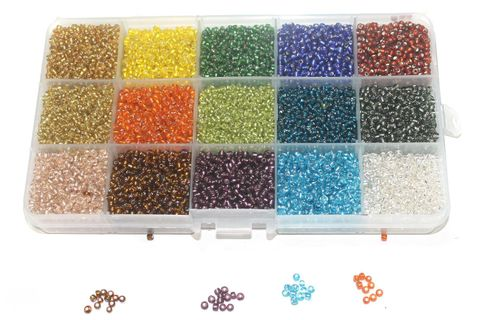 Jewellery Making Silver Line Seed Beads Kit[15 Colors]