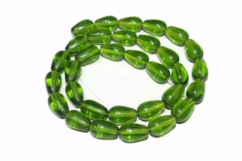 5 strings Glass Drop Beads Peridot 12x8mm