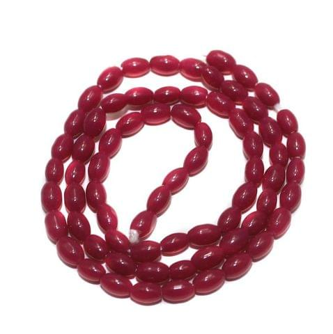 Jaipuri Beads Pink Oval 5 Strings 3mm