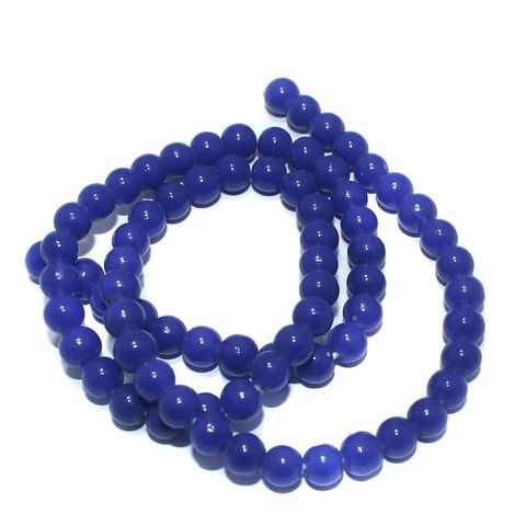 5 Strings of Jaipuri Round Beads Blue 6mm