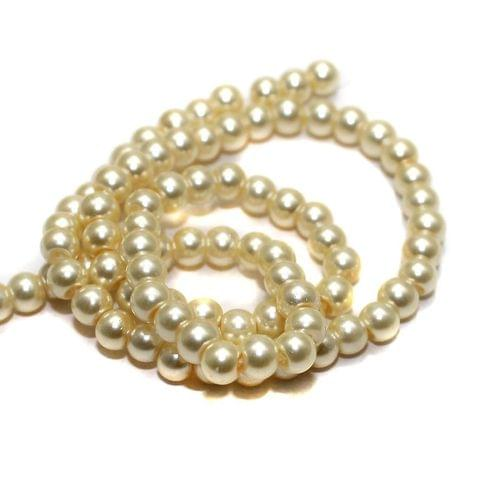 65+ Glass Pearl Beads Round Ivory 6 mm