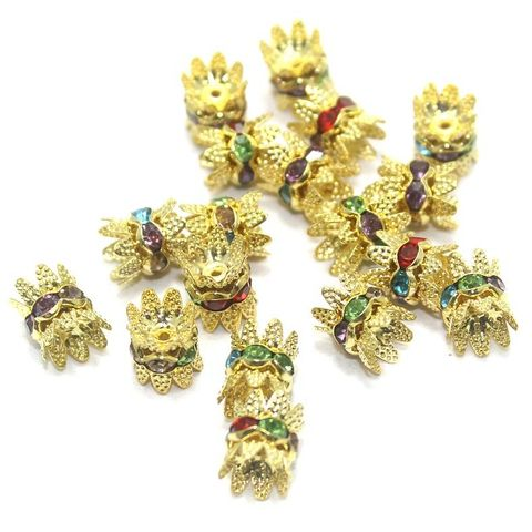 50 Pcs. Rhinestone Bead Caps Multi Color 10x8 mm