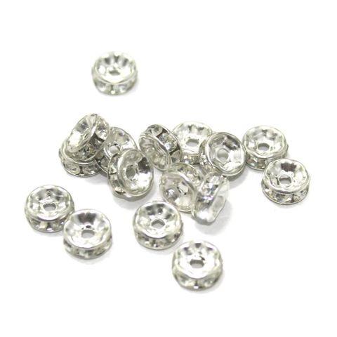 50 Pcs. Rhine Stone Disc Beads Silver 7 mm