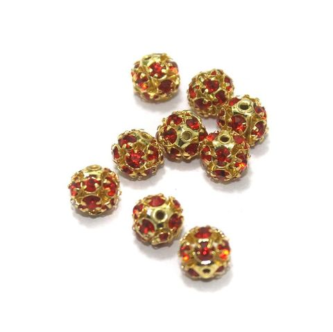 50 Pcs. Rhine Stone Round Beads Red 6 mm