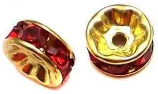 50 Rhine Stone Disc Beads Red Spacer 7mm