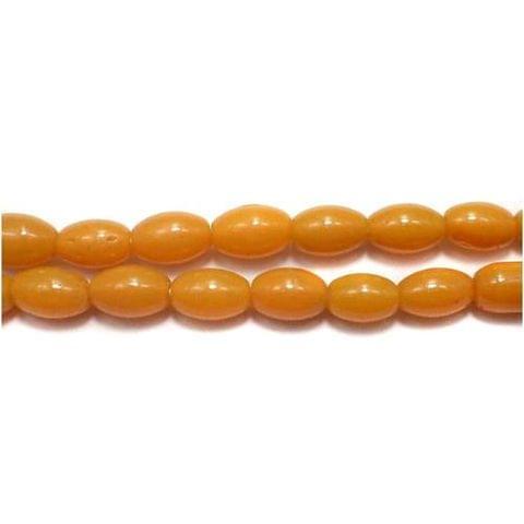 5 Strings of Jaipuri Oval Beads Yellow 8x6mm