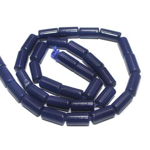 5 Strings of Jaipuri Tube Beads Blue 12x6mm