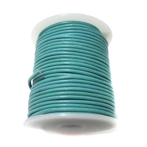Leather Cord Turquoise For Jewellery Making, Size 2 mm, Pack of 25 mtr