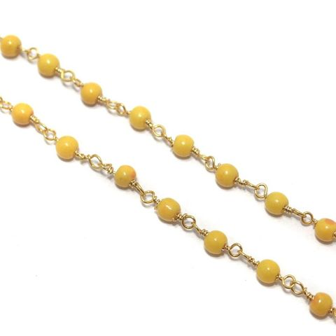 Jewellery Making Glass Beads Chain 3mm Yellow, Pack Of 5 Mtrs