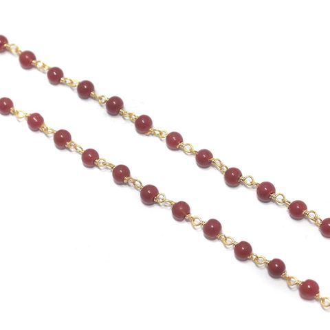 Jewellery Making Glass Beads Chain 3mm Red, Pack Of 5 Mtrs