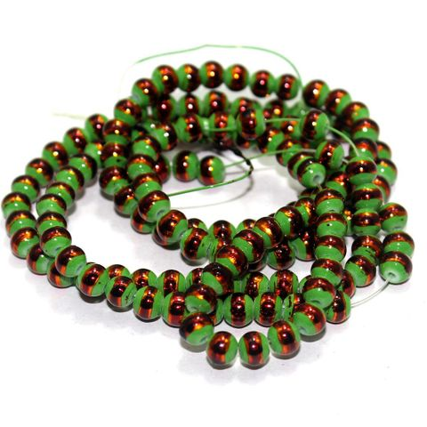 5 String Glass Round Beads Peridot 6mm