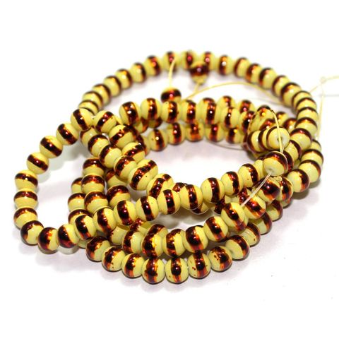 5 String Glass Round Beads Yellow 6mm
