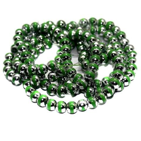 5 String Glass Round Beads Green 6mm