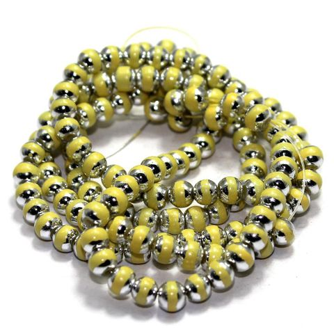 1 String Glass Round Beads Yellow 6mm