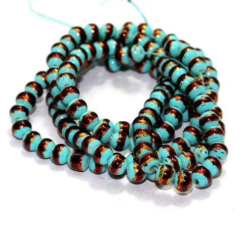 5 Strings Glass Round Beads Teal 6mm