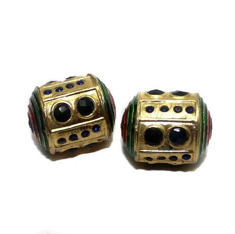2 Jadau Beads Blue 27x21mm