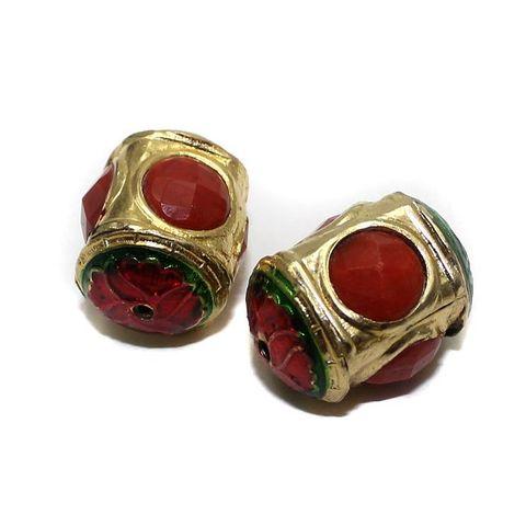 2 Jadau Beads Red 22x12mm