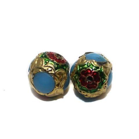2 Jadau Round Beads Turquoise 14mm