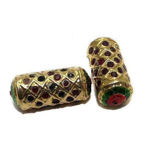 4 Jadau Beads Red 30x13mm
