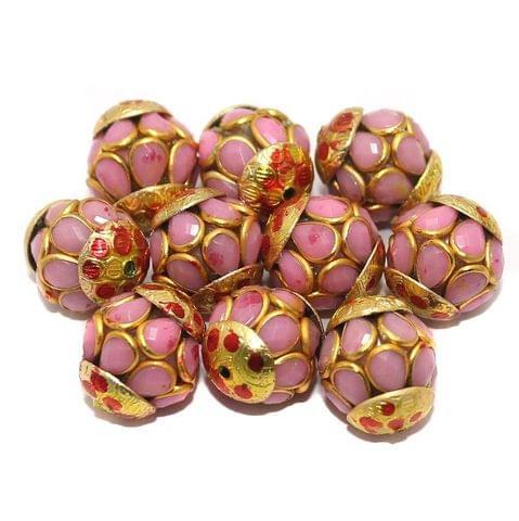Pacchi Round Beads 15x12mm Pink
