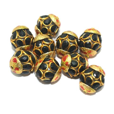 Pacchi Round Beads 15x12mm Black