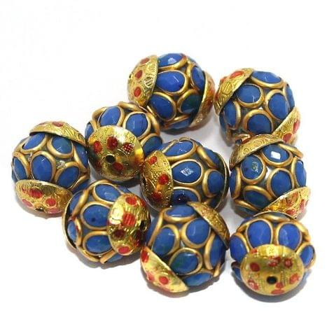 Pacchi Round Beads 15x12mm Blue