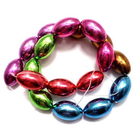 5 Strings Metallic CC Oval Beads Assorted 20x12 mm